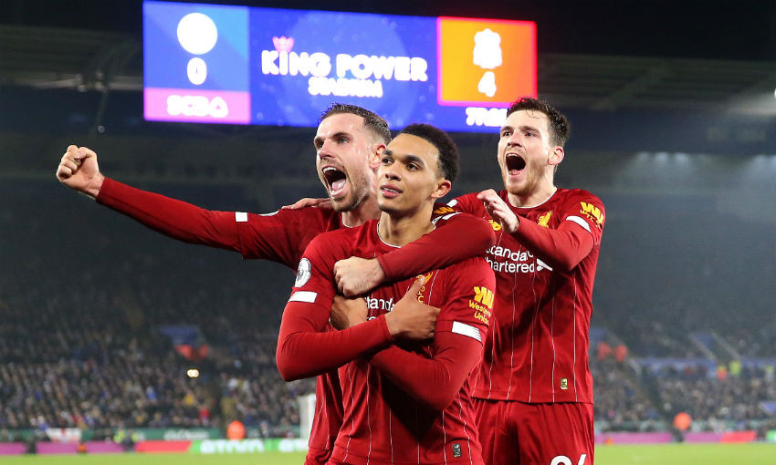 Trent Alexander-Arnold celebrates goal for Liverpool FC v Leicester City