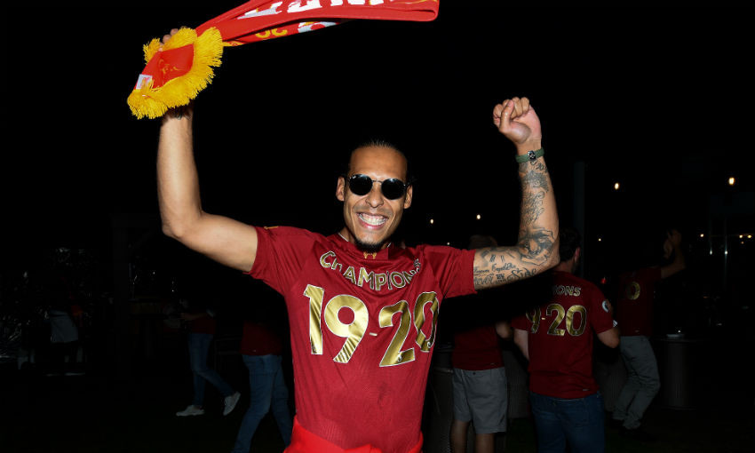 Virgil van Dijk of Liverpool celebrating winning the Premier League on June 25, 2020 in Liverpool, England.