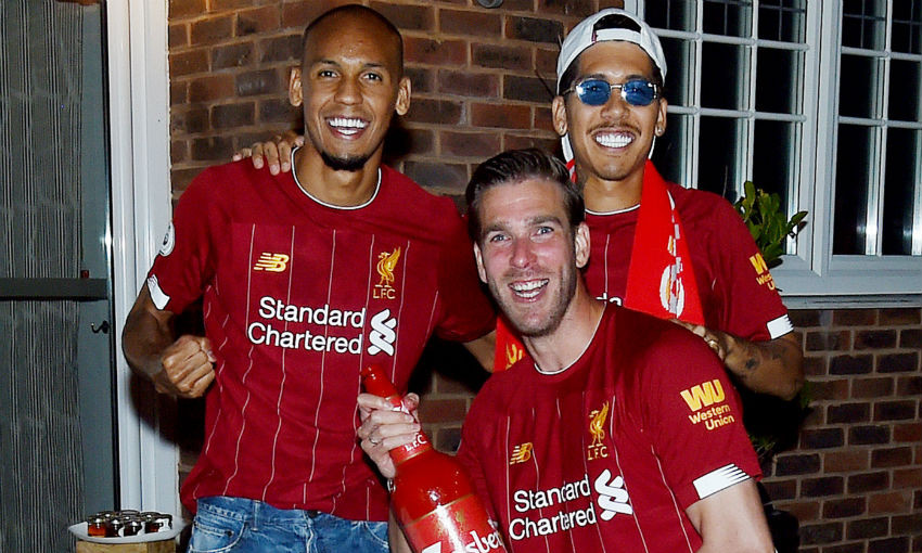 Fabinho, Roberto Firmino and Adrian of Liverpool FC