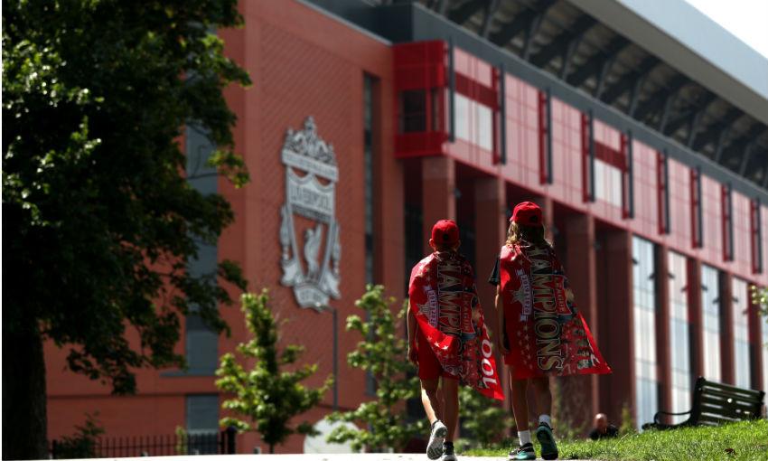 Liverpool FC fans outside Anfield after Premier League title win