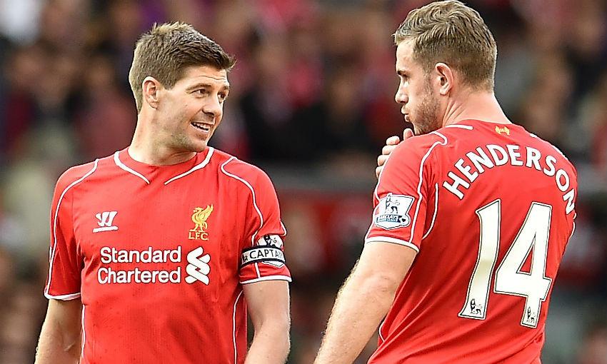 Steven Gerrard and Jordan Henderson in action for Liverpool FC