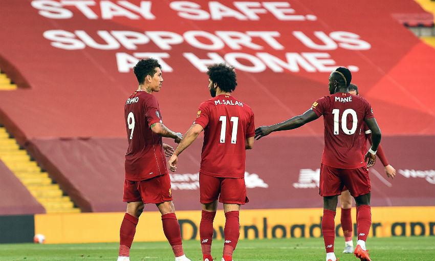 Roberto Firmino, Mohamed Salah and Sadio Mane of Liverpool FC