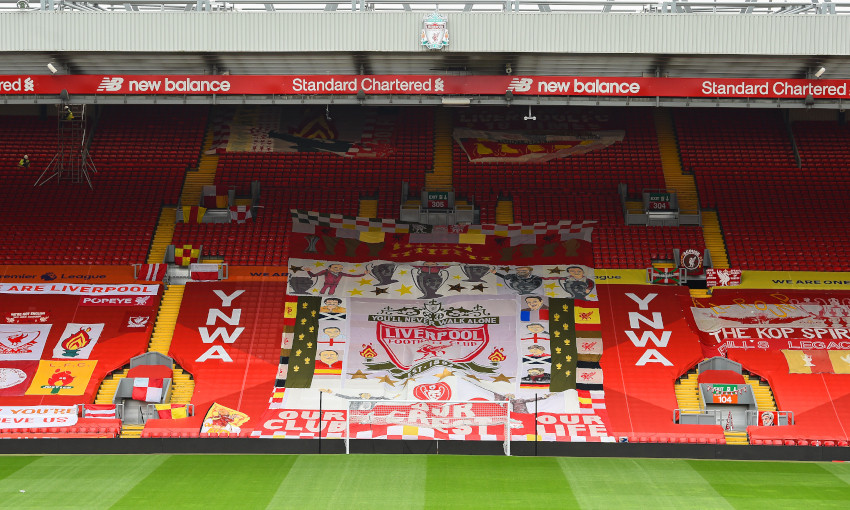 General view of fan banners on the Kop
