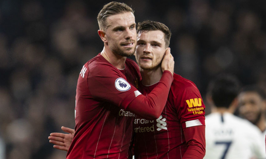 Jordan Henderson and Andy Robertson of Liverpool FC