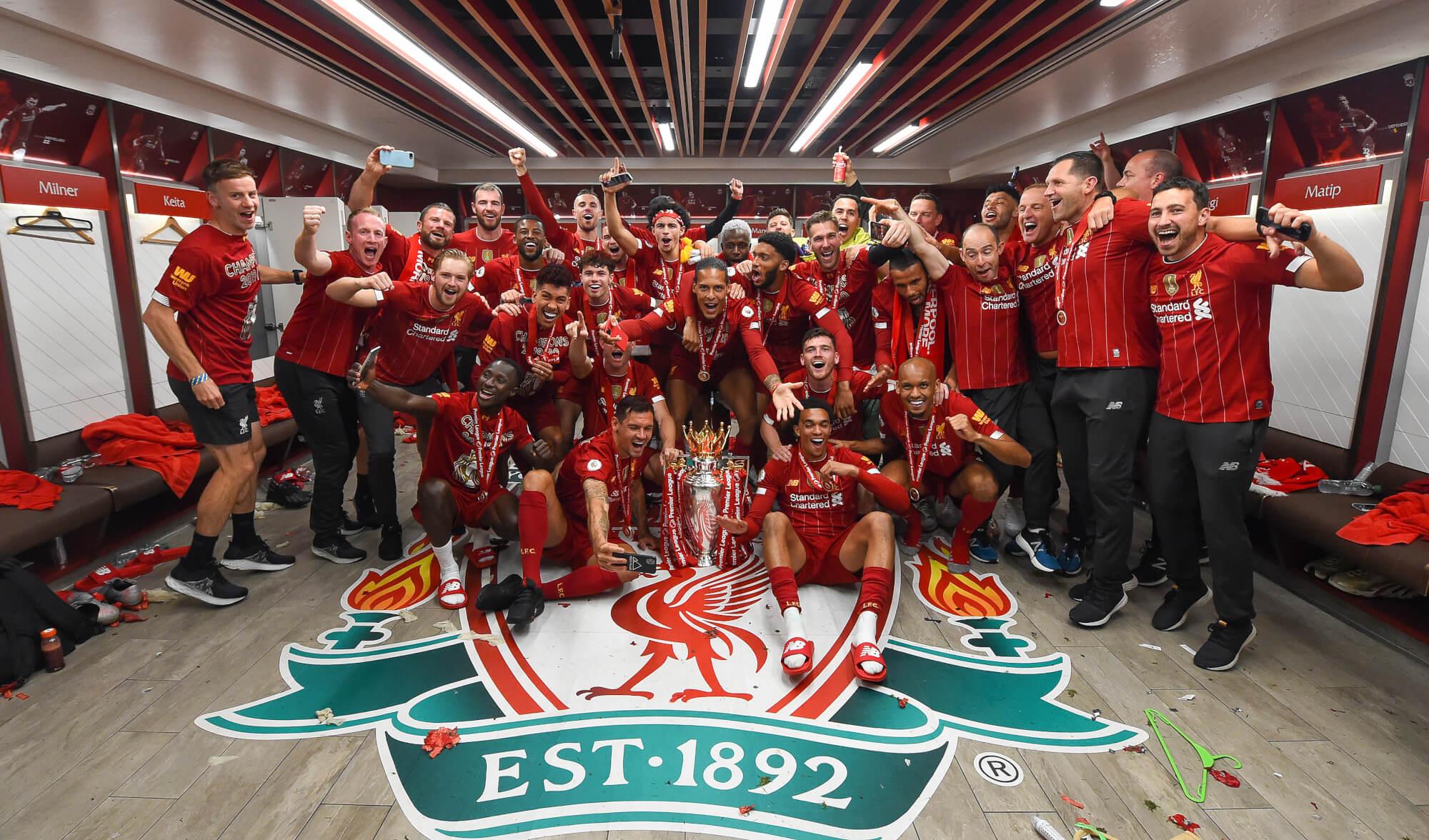 Dressing Room Photos Champions Celebrate Premier League Glory Liverpool Fc