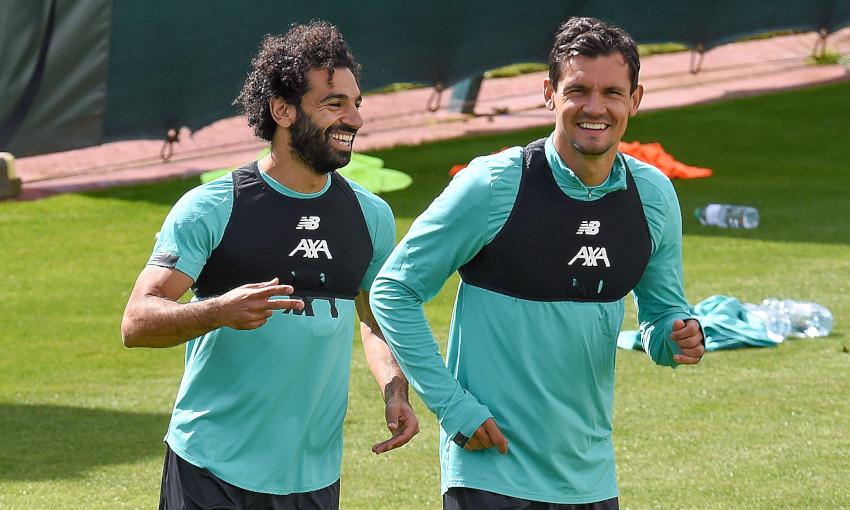 Mohamed Salah and Dejan Lovren in training