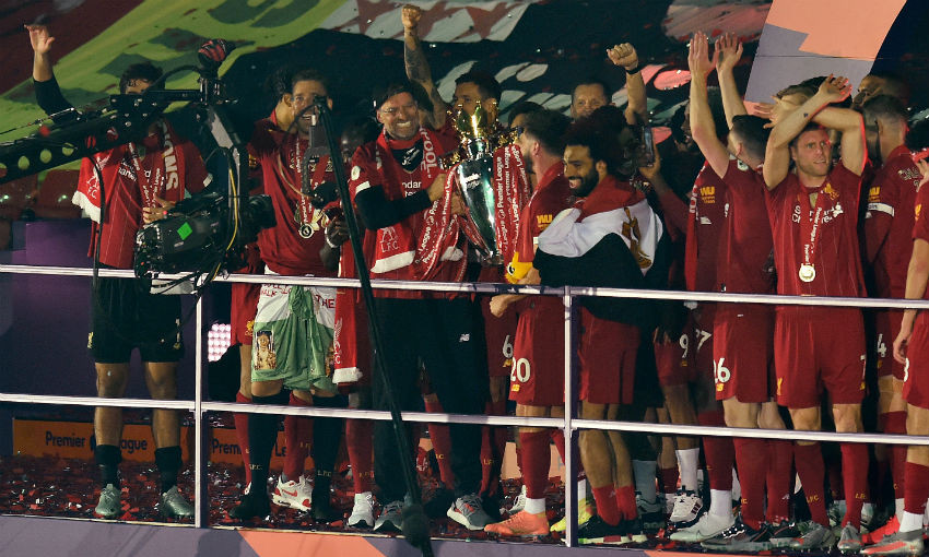 Jürgen Klopp of Liverpool FC with Premier League trophy