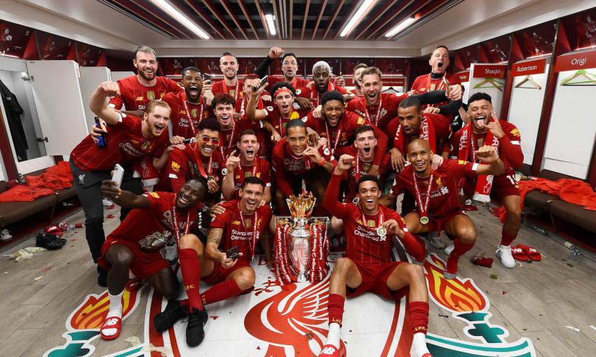 Liverpool's dressing room celebrations