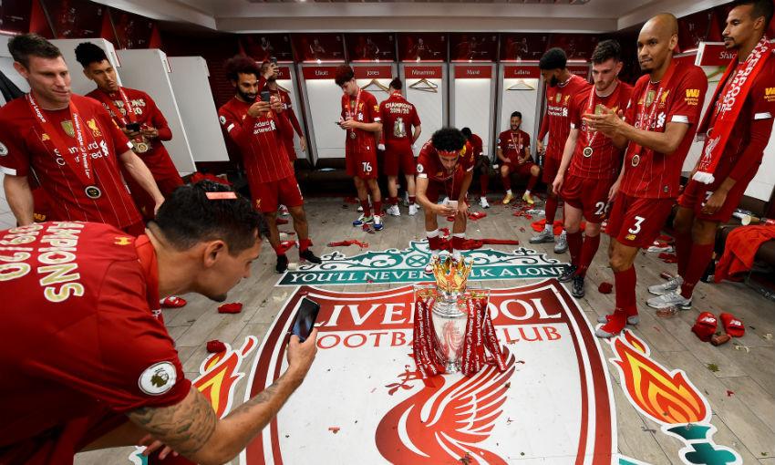 Liverpool FC celebrate Premier League trophy win