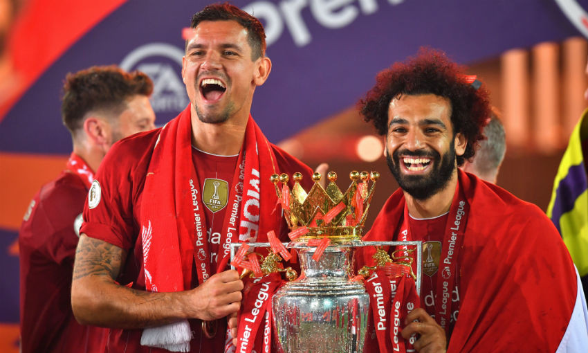 Mohamed Salah of Liverpool FC with the Premier League trophy
