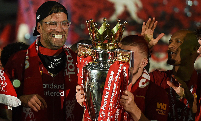 Jürgen Klopp of Liverpool FC and the Premier League trophy
