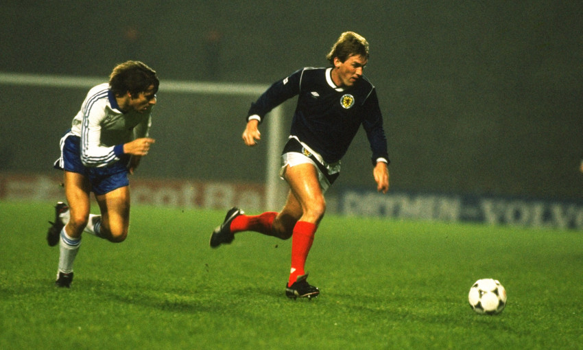 Sir Kenny Dalglish playing for Scotland