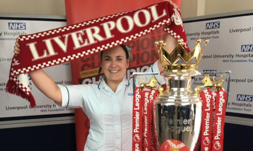 Premier League trophy visits Liverpool hospitals