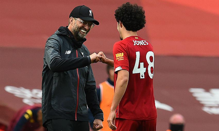 Jürgen Klopp and Curtis Jones of Liverpool FC