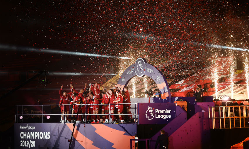Liverpool lift the Premier League trophy at Anfield