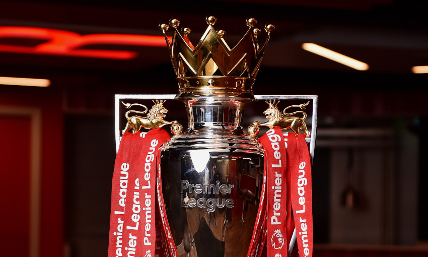 Premier League trophy at Anfield