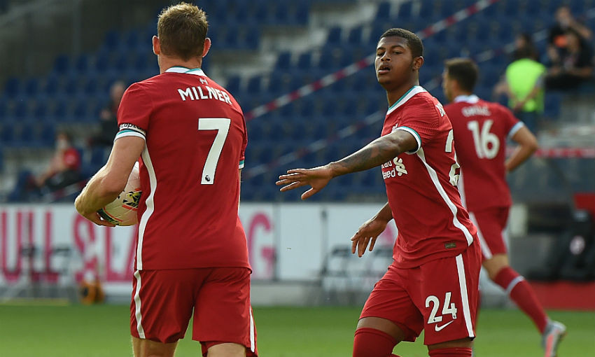 James Milner and Rhian Brewster of Liverpool FC