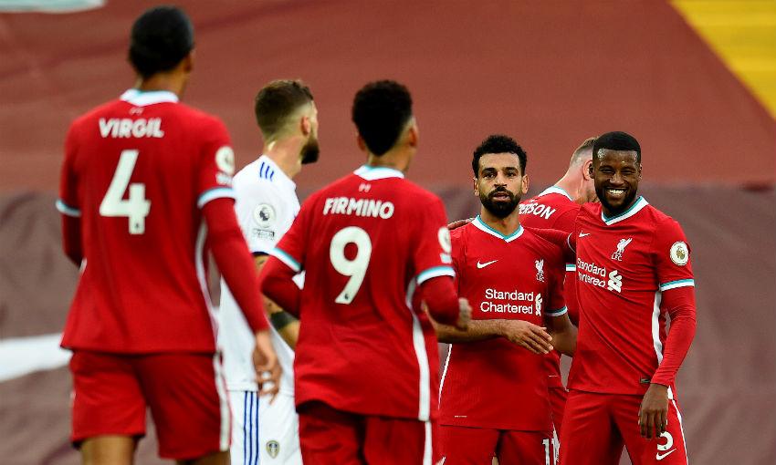 Mohamed Salah of Liverpool FC celebrates goal v Leeds United