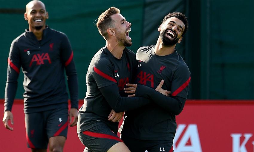 Jordan Henderson and Mohamed Salah in Liverpool FC training