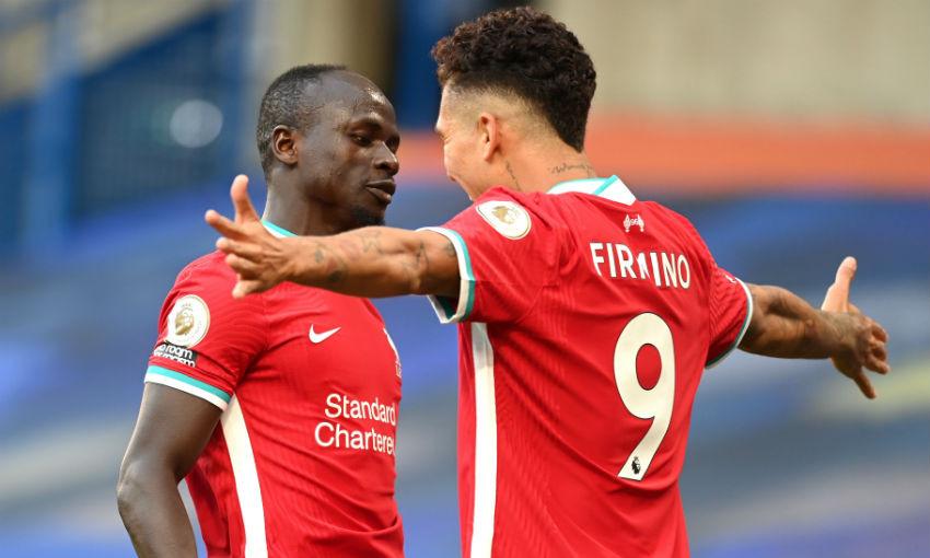 Sadio Mane and Roberto Firmino of Liverpool FC