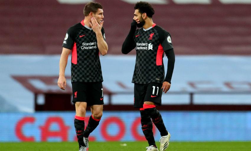 James Milner and Mohamed Salah of Liverpool FC