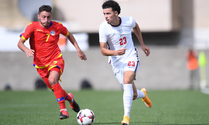Curtis Jones in action for England U21s against Andorra