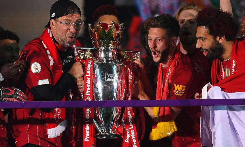 Jürgen Klopp celebrates with the Premier League trophy