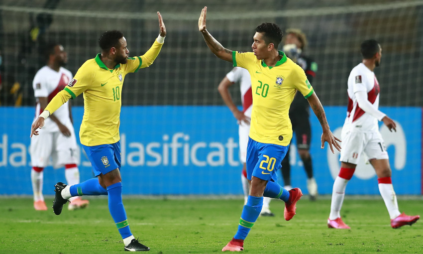 Roberto Firmino in action for Brazil