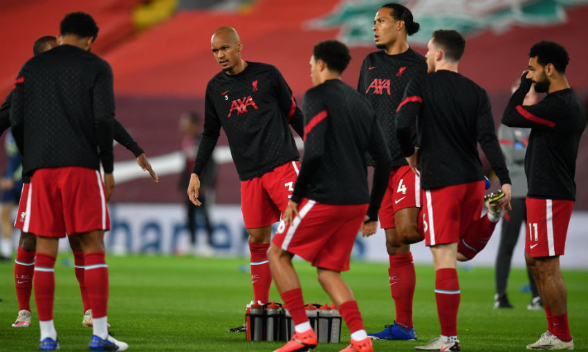Liverpool FC warm up pre-match at Anfield