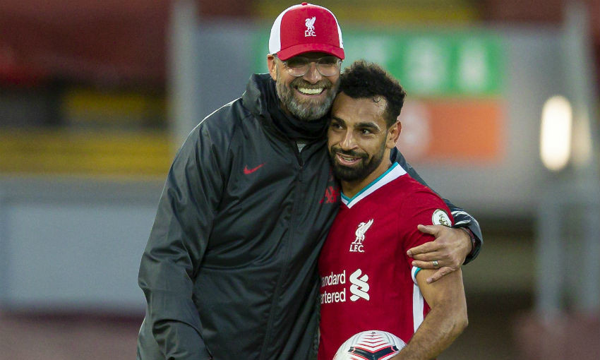 Jürgen Klopp and Mohamed Salah of Liverpool FC