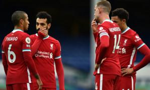 Thiago Alcantara, Mohamed Salah, Jordan Henderson and Trent Alexander-Arnold of Liverpool FC