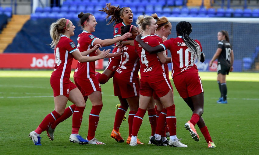 Liverpool FC Women celebrate goal v Manchester United