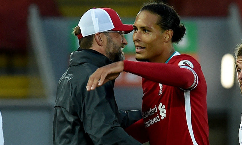 Jürgen Klopp and Virgil van Dijk of Liverpool FC