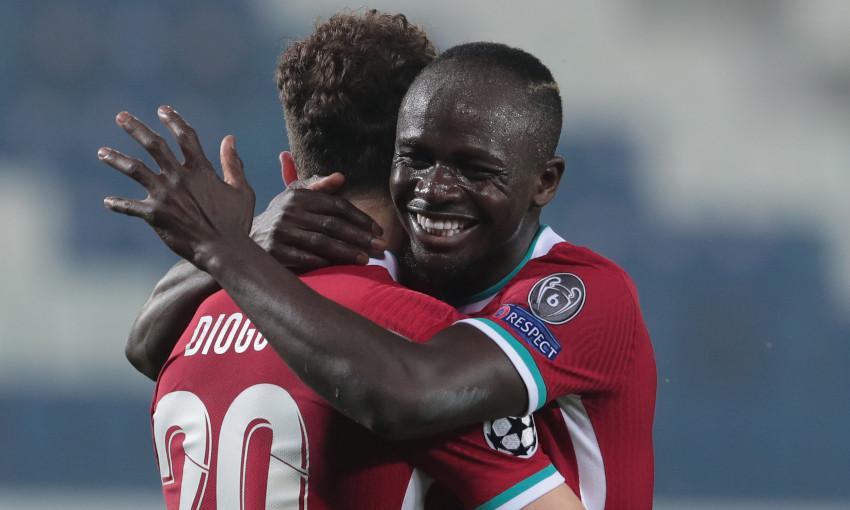 Diogo Jota and Sadio Mane celebrate