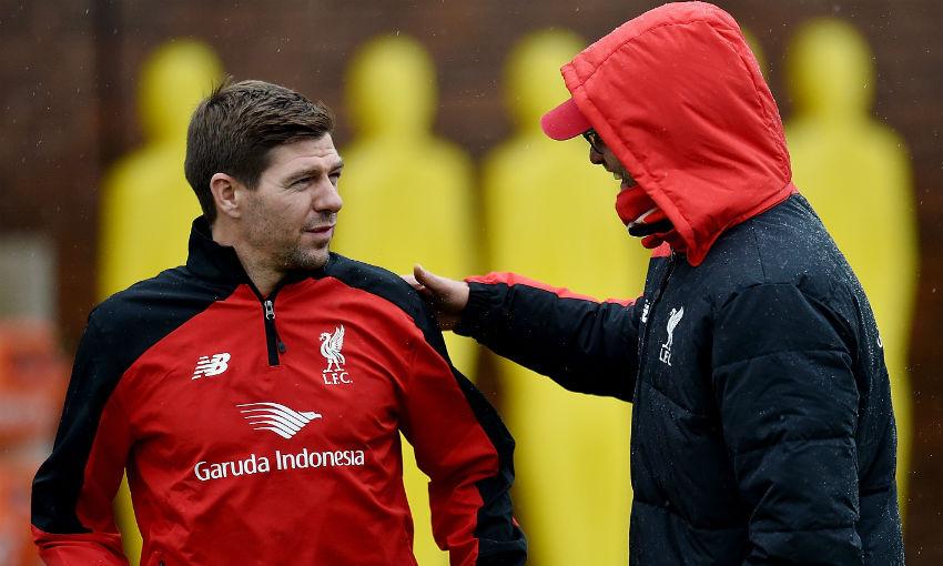 Steven Gerrard and Jürgen Klopp at Melwood
