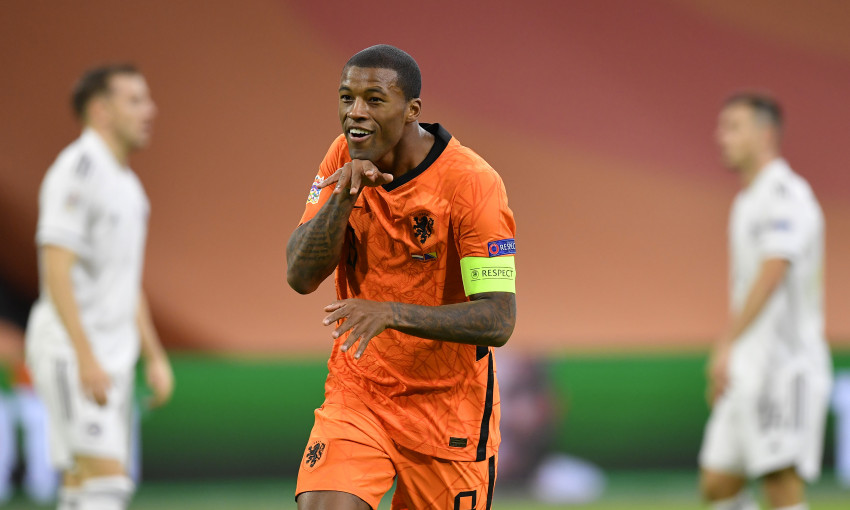 Georginio Wijnaldum celebrates a goal for the Netherlands