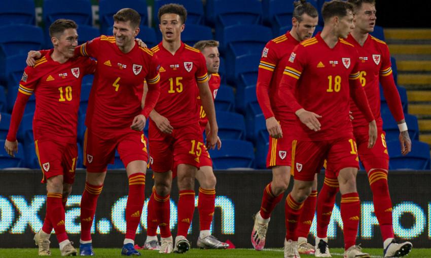 Harry Wilson celebrates scoring for Wales