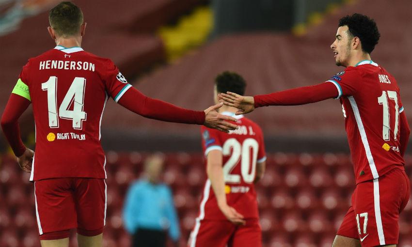 Jordan Henderson and Curtis Jones of Liverpool FC