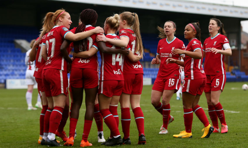 Rinsola Babajide celebrates goal for Liverpool FC Women v Crystal Palace