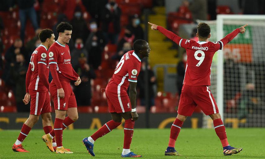 Roberto Firmino celebrates goal for Liverpool FC v Tottenham