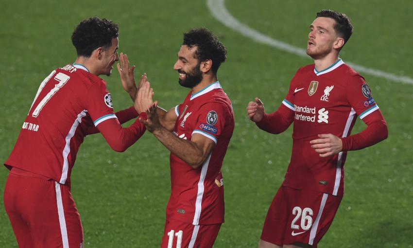 Mohamed Salah celebrates scoring against Atalanta