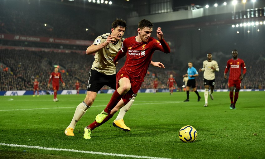 Andy Robertson during Liverpool v Manchester United