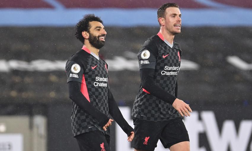 Mohamed Salah celebrates scoring against West Ham United - 31/1/2021