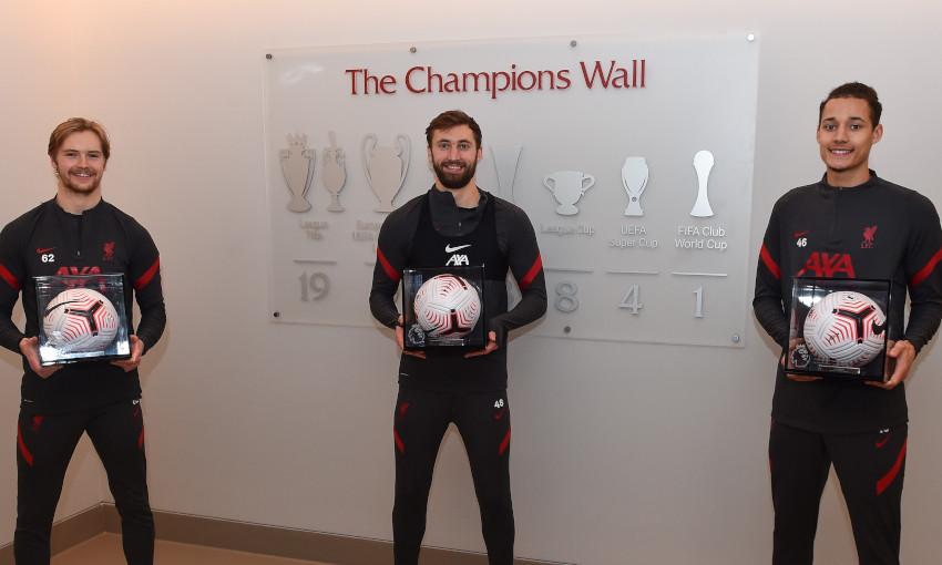 Caoimhin Kelleher, Nathaniel Phillips and Rhys Williams receive their Premier League Debut Ball