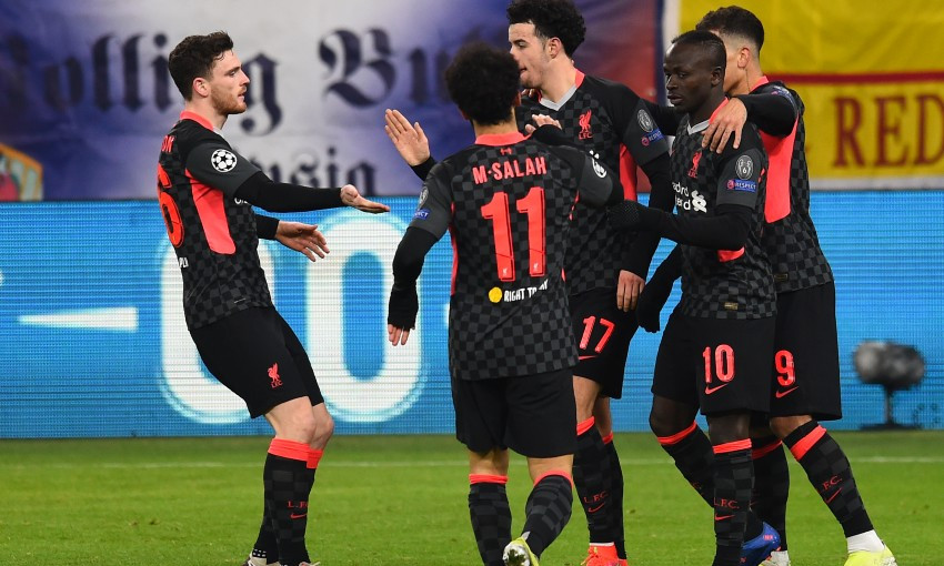 Sadio Mane celebrates goal for Liverpool v RB Leipzig