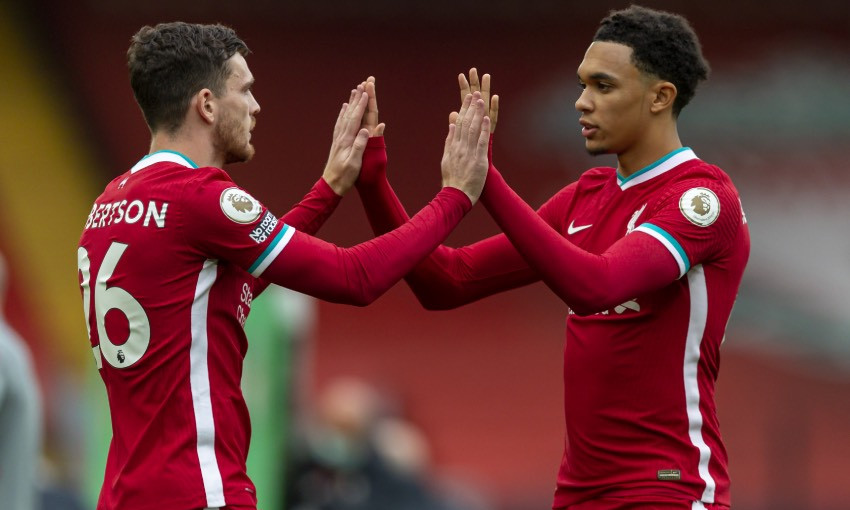 Andy Robertson and Trent Alexander-Arnold of Liverpool FC