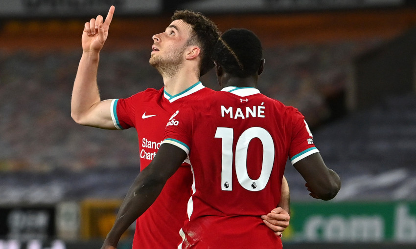 Diogo Jota celebrates against Wolverhampton Wanderers