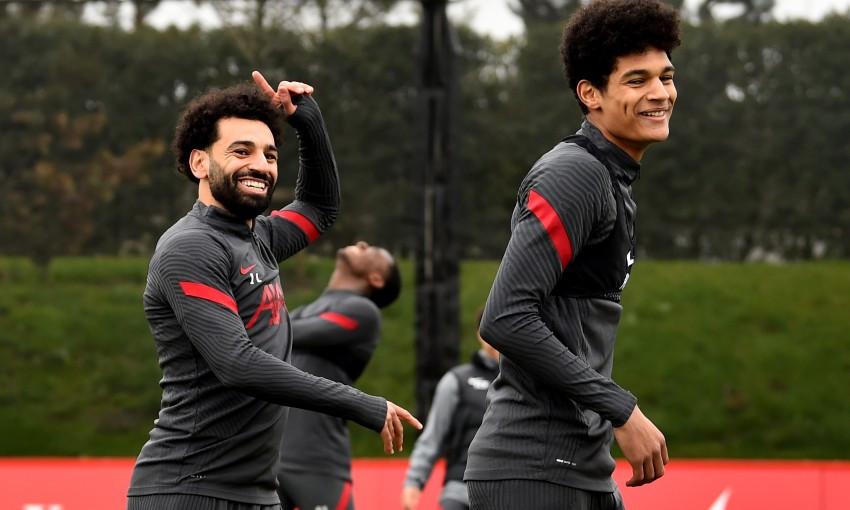 Mohamed Salah and Jarrell Quansah of Liverpool FC