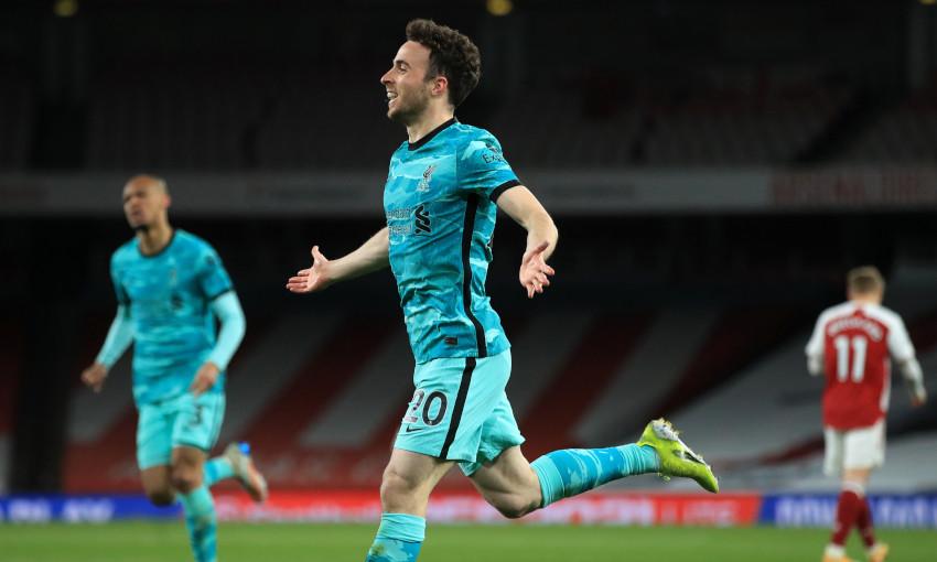 Diogo Jota celebrates scoring against Arsenal