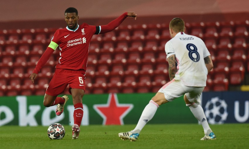 Gini Wijnaldum of Liverpool FC in action v Real Madrid